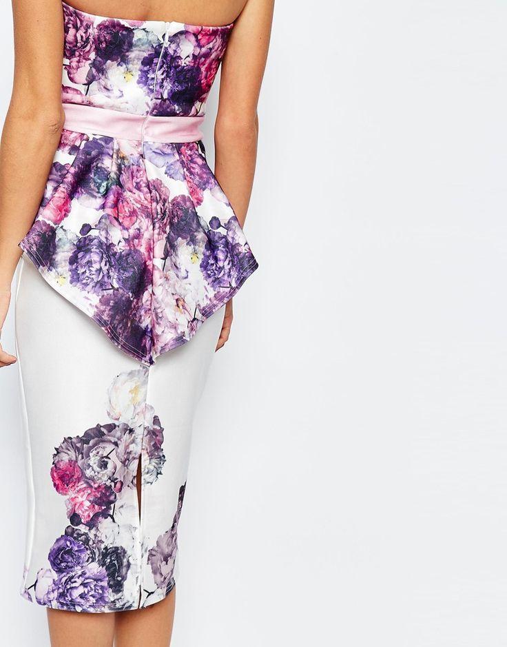 Bild 3 von True Violet – Trägerloses Kleid mit Kontrastgürtel und Schößchen hinten