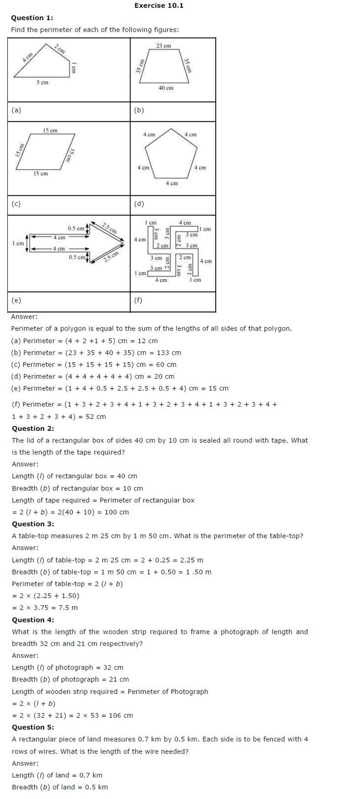 NCERT Solutions for Class 6th Maths Chapter 10