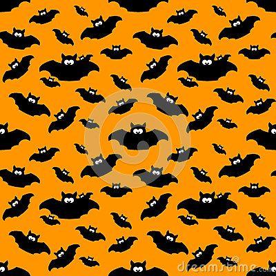 Seamless halloween pattern with black bats over orange background