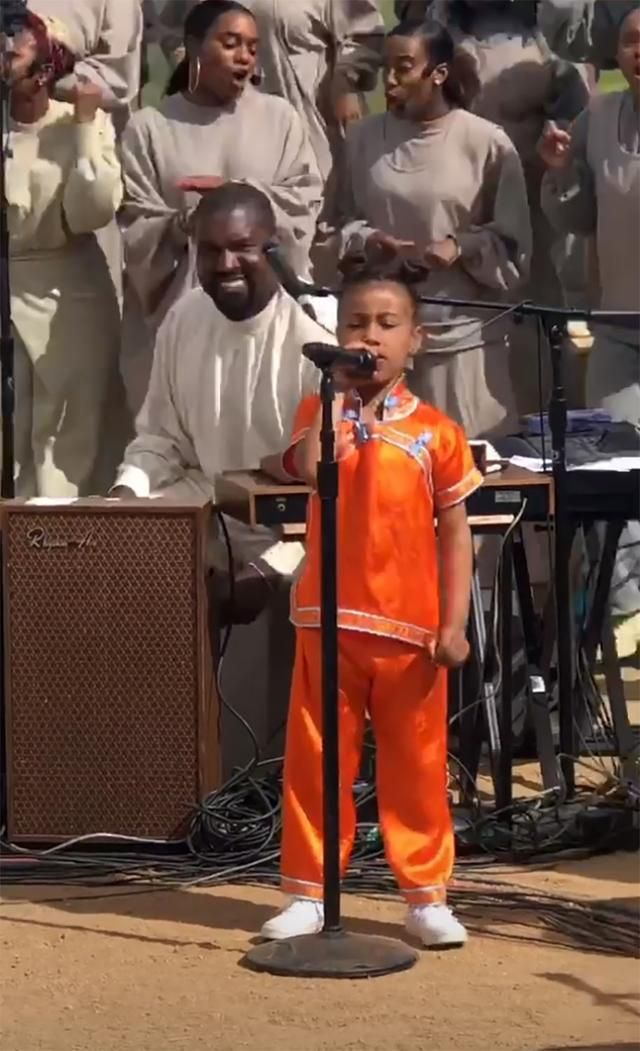North West Takes The Mic At Dad Kanye West S Sunday Service Kanye West Kanye Kim And Kanye