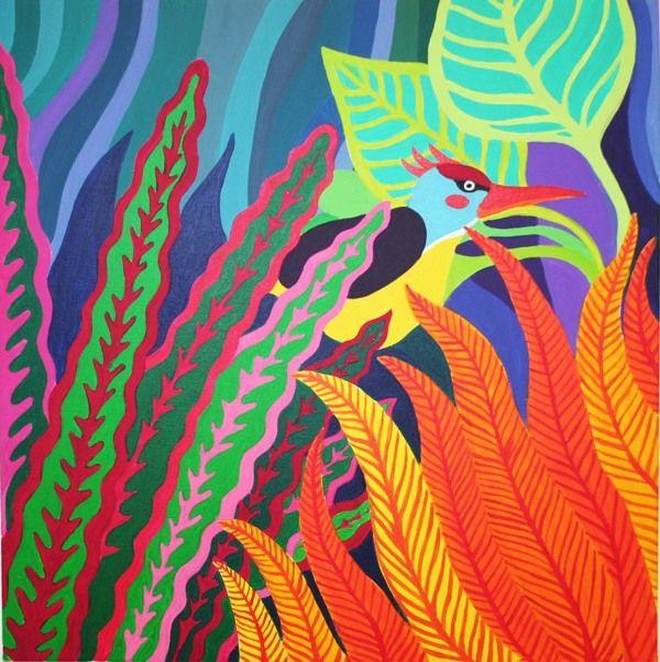 Hidden Bird - 2013 - Acrylic on canvas by Anita Romeo www.anitaromeo.com, via Behance
