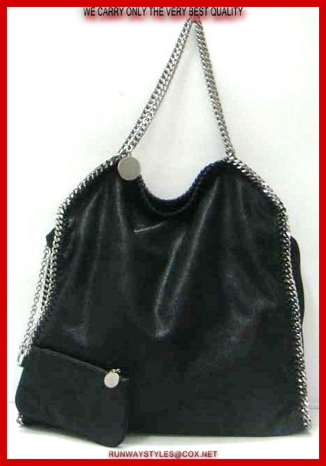 "Stella McCartney Falabella Chain Bag in Black. Faux-leather hobo bag with silver curb chain shoulder straps and trim. Magnetic snap closure, fully lined main compartment. Inner zip, patch pockets. Coin purse included.   Measures 16"" long, 16"" high, 4"" deep.  8"" drop."