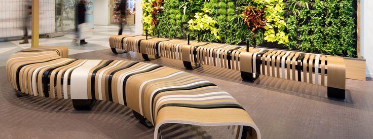 Green Furniture Sweden – Nova C with Armrest at Stockholm Central Station- Oasen  #greenfurnituresweden #greenfurniture #JohanBerhin #ecofurniture #sustainabledesign #scandinaviandesign #novac  #novacwitharmrest  #StockholmCentralStation  #bench