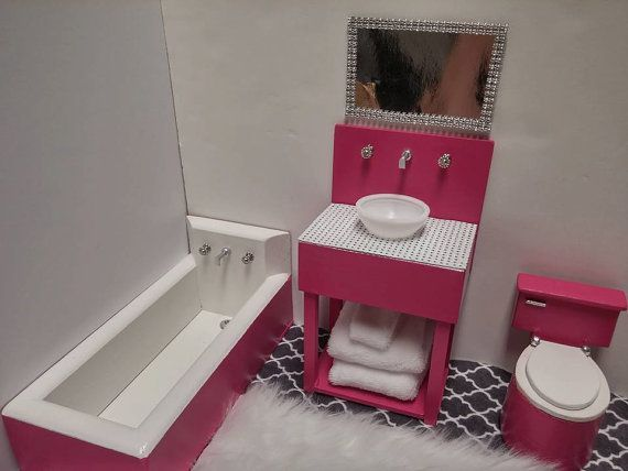 Doll Bathroom Sink Toilet Bath Tub For Barbie Monster High Fashion Royalty Blythe Do Mit Bildern Barbie Badezimmer Barbie Haus Mobel Diy Puppenhaus Mobel