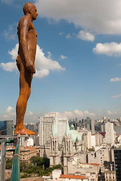 Sculpture by artist Antony Gormley at Rio de Janeiro