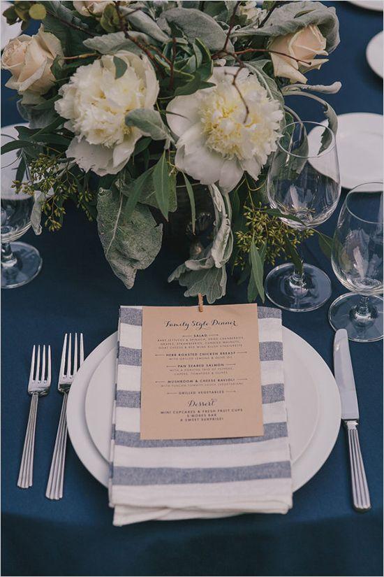 family style dinner menu | striped napkin | rustic place setting ideas | #weddingchicks