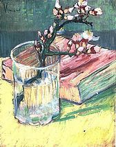 Blossoming Almond Branch in a Glass with a Book, Vincent Van Gough, 1888