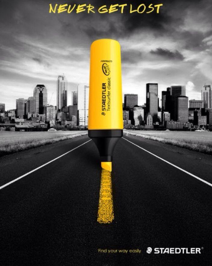 Yellow highlighter pen