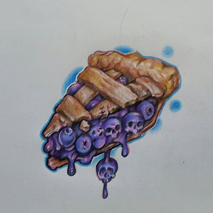 Blueberry Pie slice w/skulls