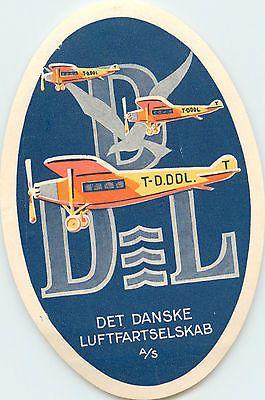 Det Danske Luftfartselskab / DDL ~DANISH AIRLINES~ Spectacular Luggage Label