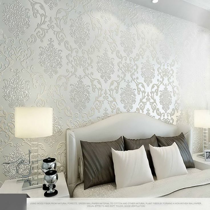 AerWo New Modern Luxury Non-woven Ivory Damask Textured Embossed Flocking Wallpaper Roll 10M