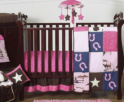 BUMPERLESS DESIGNER DISCOUNT HORSE WESTERN COWGIRL BABY BEDDING CRIB SET GIRL - http://baby.goshoppins.com/nursery-bedding/bumperless-designer-discount-horse-western-cowgirl-baby-bedding-crib-set-girl/