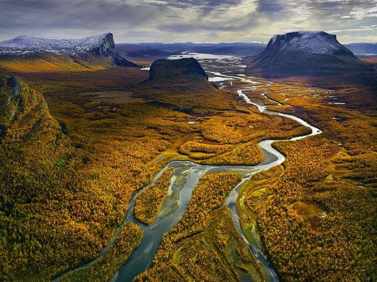 Aerial of Rapa River, Sarek National Park, Lapland, Sweden
