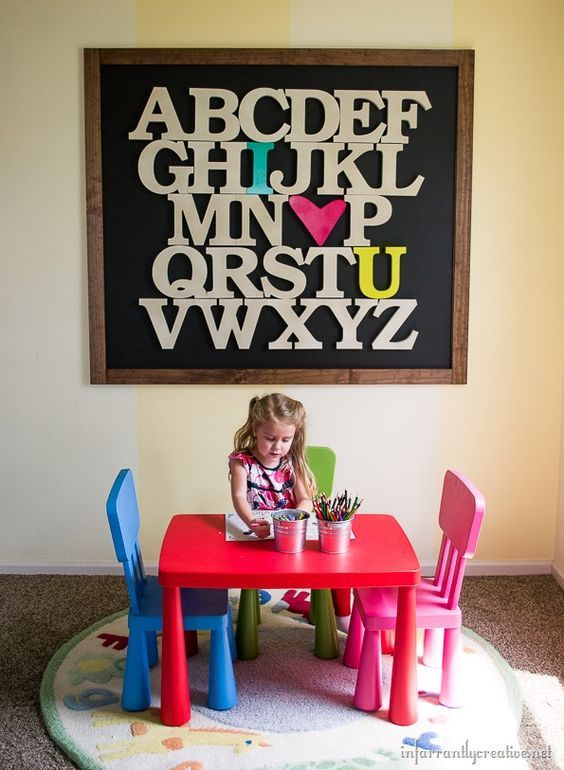 turn large wooden letters into a huge statement piece with this alphabet art