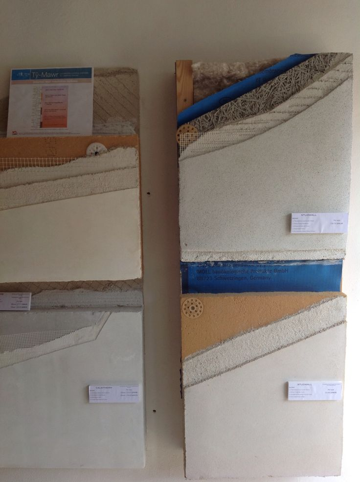 Build-ups of different insulation and lime plasters in our shop.