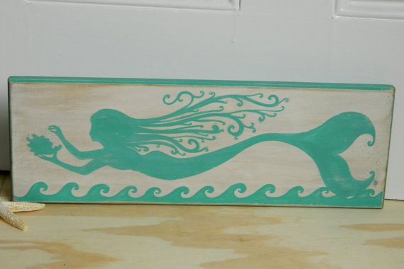 Turquoise Mermaid Fantasy Hand Painted Wood Sign by Creaschon, $28.00