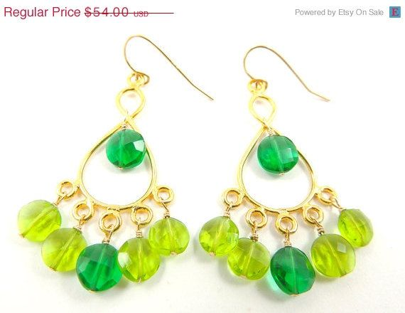 30 OFF SALE Lime and Green Chandelier Earrings  by PATCHOULIBIRD, $37.80