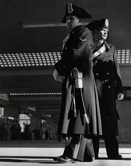 Italian Vintage Photographs ~ #Italian #Vintage #Photographs ~ Carabiniere Termini Station Rome 1950 Photo: Herbert List