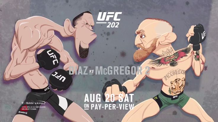 Nate Diaz vs Conor McGregor cartoon fight promo for #UFC202 : if you love #MMA…