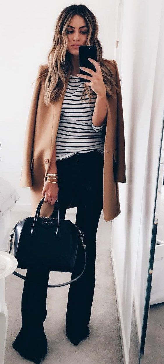 Women's fashion | Striped shirt, black flared pants and brown coat