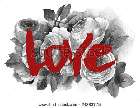Roses and love. Raster hand drawn illustration. - stock photo
