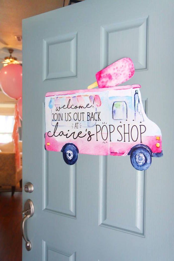"""PopShop welcome sign from a """"Two Cool"""" Popsicle Themed Birthday Party on Kara's Party Ideas 