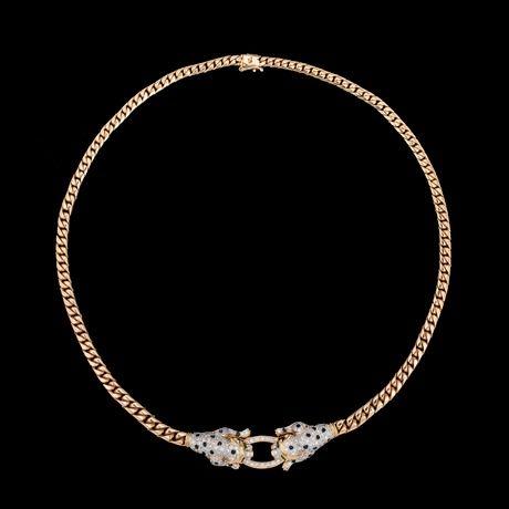 COLLIER, briljantslipade diamanter, tot. ca 1.34 ct, fasettslipade blå safirer och smaragder.  18k guld. Vikt 50,8 g. I form av pantrar. L. 45 cm.