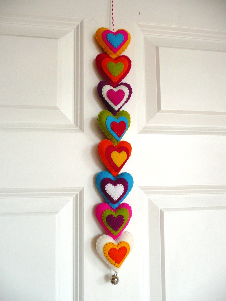 Colorful felt hearts garland. $31.99, via Etsy.