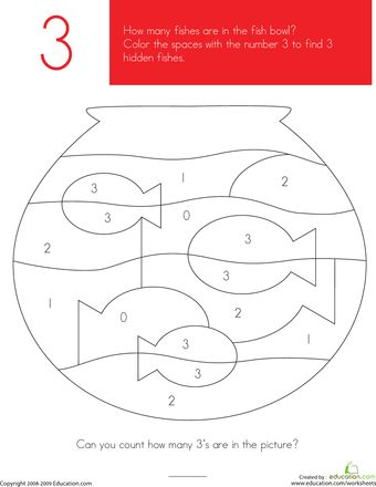 This preschool math and coloring worksheet focuses on the number 3. Kids color all of the spaces with the number 3 to reveal a hidden fish picture.
