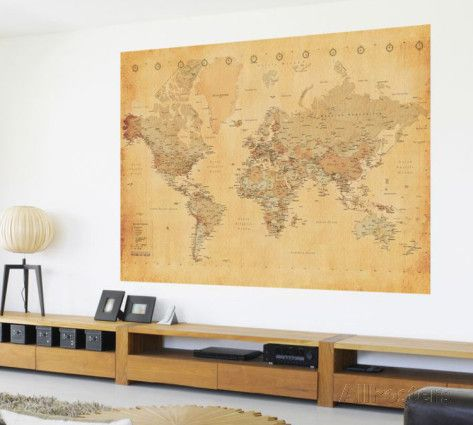 vintage style world map deco papier peint mural style vintage peintures murales et monde. Black Bedroom Furniture Sets. Home Design Ideas