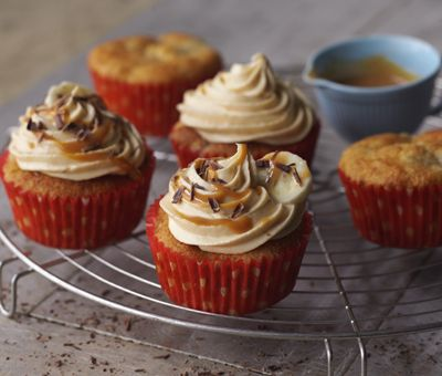 Banoffee Cupcakes - A must for all banoffee fans. Delicious banana muffins with a gorgeous, caramel icing. Yum!  You can make it too! Click for the recipe »