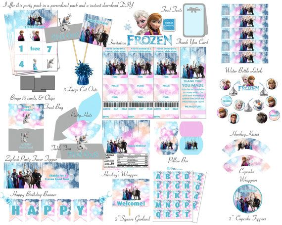 Personlized Frozen Birthday Party Deluxe Package Kid Party Princess  Party Free Bingo Game Instant Download DIY