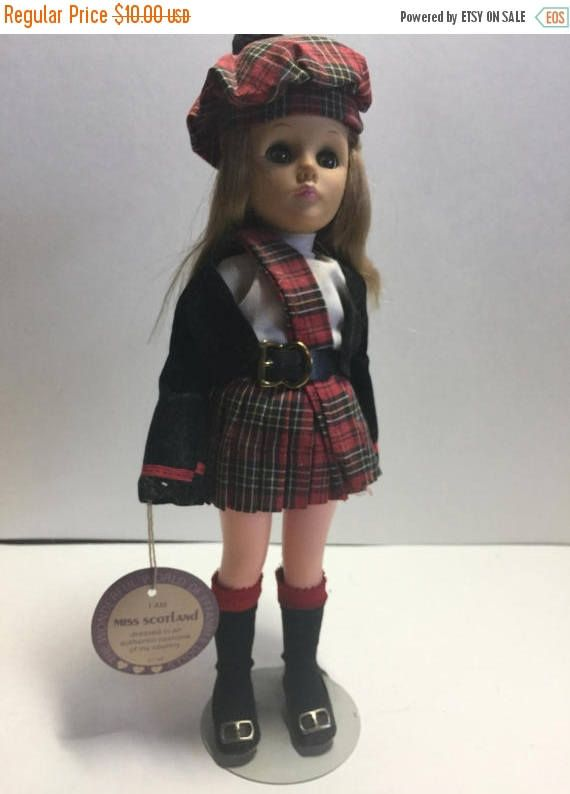"""On Sale Vintage 1975 The Wonderful World of Effanbee Dolls """"Miss Scotland"""" Doll with Tag and Doll Stand"""