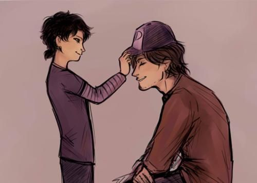 The walking dead, season 2. Luke and Clementine. Clem wouldn't give up her hat but still cute