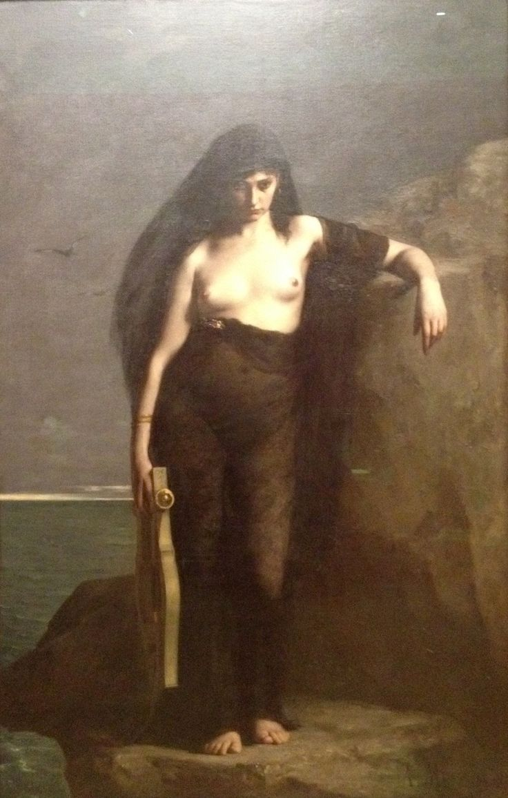 """Sappho"" by Charles-August Mengin, 1877, Manchester Art Gallery I appreciate the atmosphere and skill of the painting but I also feel very frustrated when facing this painting. Even Sappho is subjected to the male gaze when she was one of the women to pave way for the communal spirit amongst women and fight the patriarchy of her age. I want to see her portrayed with her ideals, not with the lust of men."