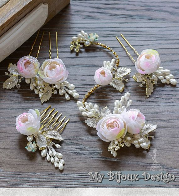 Gold Wedding Headpiece Feather Bridal Hair Clips by MyBijouxDesign