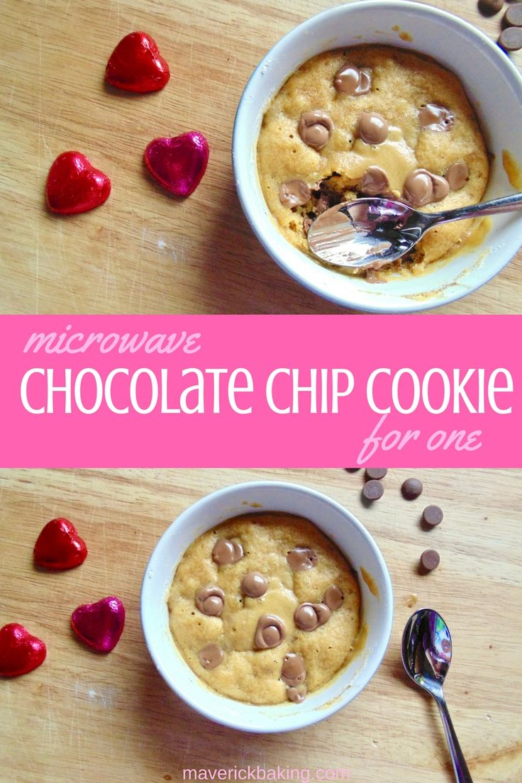 Microwave Chocolate Chip Cookie for One! Soft, warm cookie dough full of melting chocolate puddles, this is a perfect Valentine's Day dessert if you're single or just too greedy to share! Video available through link too!
