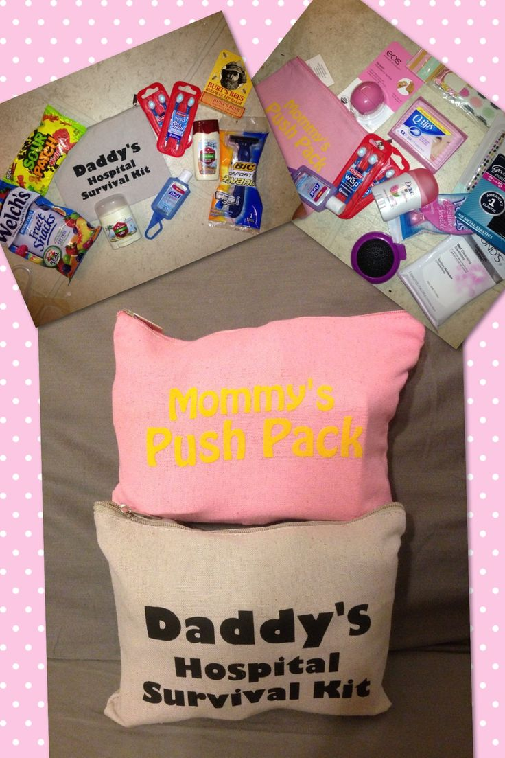 DIY Mommy's Push Pack/Daddy's hospital survival kit! I made these for my SIL & her main-squeeze for their hospital stay. I used my silhouette cameo to cut the letters on heat transfer paper & picked up these snazzy bags in the dollar section at Target! Filled them with things they'll need while at the hospital delivering their newest addition