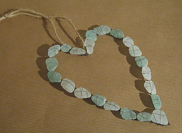 I have a heap of sea glass and no idea what to do with it, this might just be it. Sea glass heart