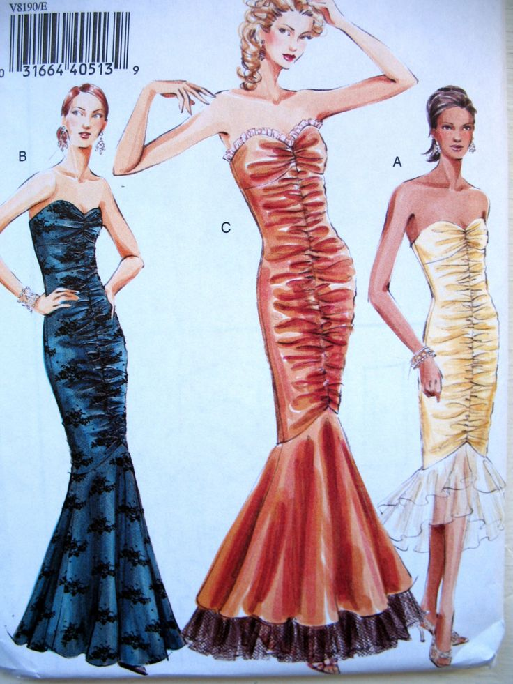 Mermaid Evening Gown Pattern, Prom Dress Pattern, Vogue Floor Length Dress Sizes 14-18 V8190 by SewCreativePatterns on Etsy