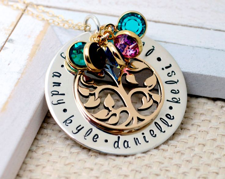 Family Tree Necklace with Birthstones, Personalized Tree of Life Mom Necklace , Grandmother Necklace, Mom Christmas Gift, Grandma Necklace