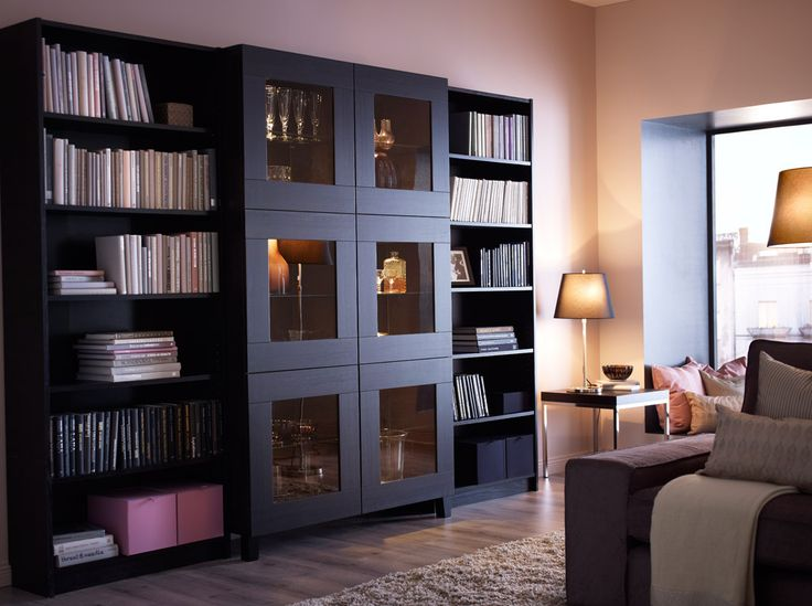 best cabinet with tempered glass doors and billy bookcases all in black brown i enjoy the. Black Bedroom Furniture Sets. Home Design Ideas