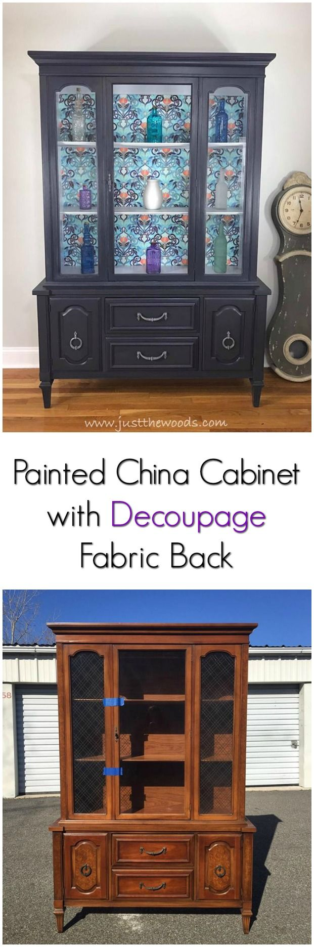 China Cabinet With Decoupage Fabric Backing