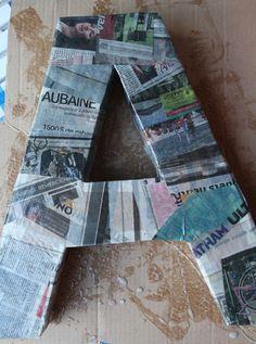 diy lettre en papier mâché