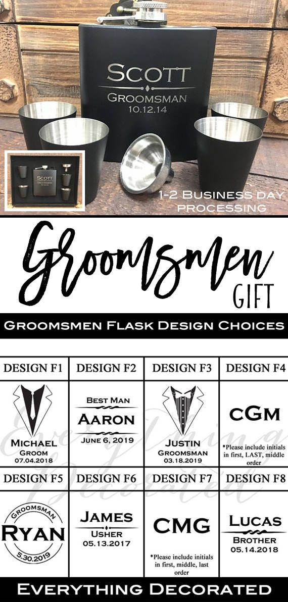 Personalized Flask Set, Groomsmen Gift, Groomsmen Flask, Gift for Groomsmen, Custom Flask, Monogram Flask, Hip Flask, Engraved Flask