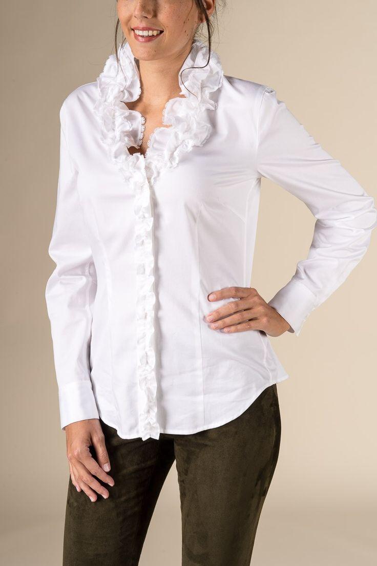 Gössl Online-Shop -  Rüschenbluse aus Anna Plochl-Satin - Blusen & Shirts - Frauen
