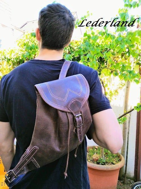 Photo of Rustic brown backpack, men leather backpack, rustic bag, lea…- Rustic brown ba…
