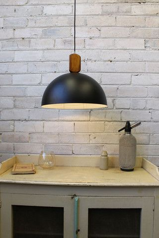 D.Wooden Dome Block Pendant Light. Black metal shade Stained wooden block. 3m cord - Fat Shack Vintage - Fat Shack Vintage