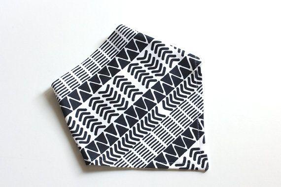 Organic Cotton Baby Bandana Bib  Tribal Black and White  by raenne, $14.00