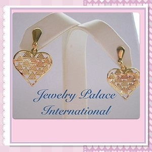 stores.ebay.com/jewelrypalaceinternational: Post Earrings, Heart Post, Filling Lady, 14K Gold, Lady Earrings, Earrings Items, Filling Shorts, Shorts Dangle, Gold Filling